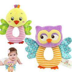Fashion Newborn Infant Rattles Toy Handbell Cartoon Animal Owl/Chicks Boy Girl Hand Bell Toddler Baby Plush Toys Gifts B #Affiliate