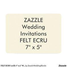 """FELT ECRU 110lb 7"""" x 5"""" Wedding Invitations"""