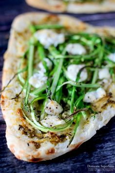 Herbed Asparagus & Goat Cheese Flatbreads - an easy weeknight solution that cooks up in less than 20 minutes!