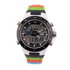 Men's Dual Time Zones Analog Digital Waterproof Luminous Wrist Watch, Gold