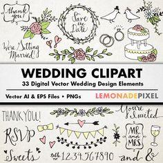 Wedding Clipart - Hand drawn clip art, rustic wedding elements, wedding art, digital download, floral, champagne, vectors, wedding, cake
