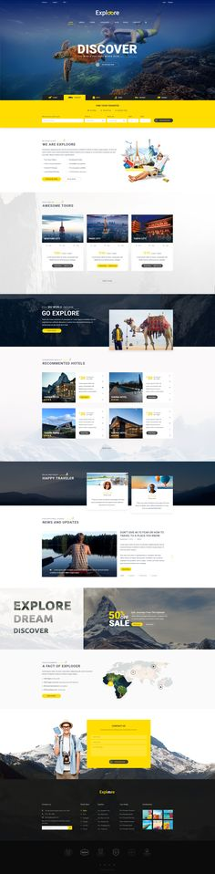 여행, 예약 홈페이지//Introduction Exploore is modern PSD template has been designed for…