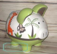 Hand Painted Ceramics, Porcelain Ceramics, Baby Piggy Banks, The Little Couple, Pig Bank, Giraffe, Elephant, Personalized Piggy Bank, Ceramics Projects