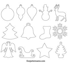 Printable Winter Christmas Ornament Unfinished Cutouts Template
