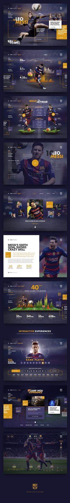 FC Barcelona design by Fred Nerby… Design Web, Design Sites, Website Layout, Web Layout, Layout Design, Nice Website, Website Ideas, Interface Web, User Interface Design