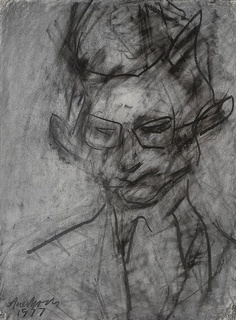 FRANK AUERBACH B. 1931 PORTRAIT OF CHRISTOPHER DARK, 1977 signed and dated 'Auerbach/1977' (lower left) and again indistinctly (lower right) chalk and charcoal on paper 29 x 22 inches 73.7 x 55.9 cm