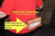 Family Friendly Indoor Party Games you can play at Christmas, birthdays or any celebration. Christmas party games for adults and children. Get ready to laugh because the Junk in the Trunk Game is hilarious! Indoor Party Games, Dinner Party Games, Hen Party Games, Birthday Party Games, Adult Party Games Funny, Lingerie Party Games, 19 Birthday, Birthday Ideas, Outside Party Games