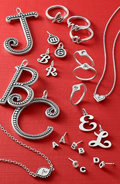 Spell out your love with a special initial (or two). Shop last-minute personalized gifts. Initial Jewelry, Initial Charm, James Avery, Gift Guide, Jewelry Collection, Washer Necklace, Personalized Gifts, Initials, Alphabet