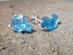 Rough Blue Apatite Sterling Silver Stud Earrings Prong Set. $32.00, via Etsy.