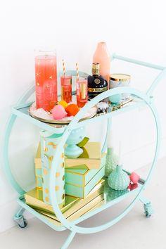 Pastel bar cart!