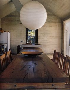 What a beautiful, rustic kitchen table. Love!