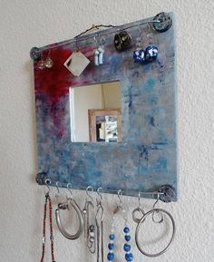 Porte bijoux mural tableau peint à l'acrylique et à