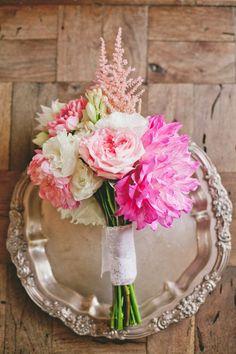 pop of pink wedding bouquet Photography: Onelove Photography - onelove-photo.com  Read More: http://www.stylemepretty.com/california-weddings/2014/05/12/pop-of-pink-malibu-wedding-at-ranch-del-cielo/
