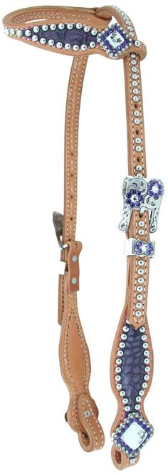 Purple croc hide with pretty conchos! By Luan's Leathers