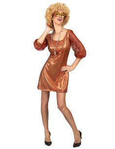 Déguisement robe disco orange paillette femme   Ce déguisement disco  comprend une robe à sequins dorés e831b1d2b068