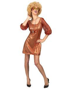 Sexy Paillettenkleid Disco Damenkostum 70er Outfit Pink Gunstige