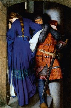 Pre Raphaelite Art: Meeting on the Turret Stairs, water color by Frederick William Burton. This is one of my favorite works of art. The painting itself is beautiful.then if you find out the backstory looking at it brings a tear to my eye Romantic Paintings, Beautiful Paintings, Tristan Et Iseult, Tristan Isolde, Frederick William, Frederick Leighton, Art Plastique, Art Reproductions, Art History