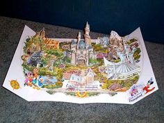 Souvenir Disneyland pop-up map issued in 1990 to commemorate the park's 35th anniversary.  New and sealed.