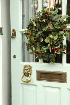 Modern Country Style: Case Study: Farrow and Ball Powder Blue - discontinued but looks great for the front door Natural Christmas, Modern Christmas, Country Christmas, All Things Christmas, Christmas Home, Country Wreaths, Holiday Wreaths, Christmas Decorations, Holiday Decor