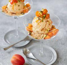 Crumble and pistachios add crunch to creamy, frozen Greek-style yogurt with sweet apricots. Speedy Dinners, Yogurt Bowl, Roasted Cherry Tomatoes, Crumble Topping, Yogurt Recipes, Asda, Breakfast Dishes, Frozen Yogurt