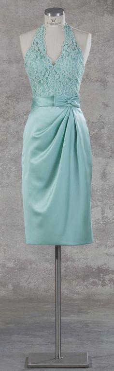 """Isabel de Mestre - Evenings Abendkleider Kollektion 2017: Kurzes Abendkleid """"Jaffa"""" in Mint mit Neckholder und Spitze - ein tolles Brautjungfernkleid!"""