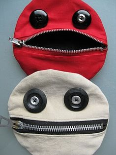 Monster pouch - cute idea for a little money/wallet for boys