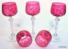 5 Victorian Ruby Cranberry Engraved Claret Wine Glasses w Faceted Knob Cut Stems Baccarat or Stevens & Williams or ABP