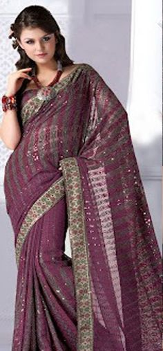 Purple Faux Georgette Saree with Blouse Fabric - £64.00. For full product information, visit: http://www.reevaonline.co.uk/sarees/purple-faux-georgette-saree-with-blouse-fabric.html #sarees #designersarees #fashion