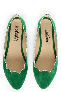 LuLu*s Scallopini Green Scalloped & Pointed Flats - $19.00