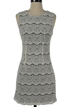 Black and White Textured Crochet Lace Dress    www.lilyboutique.com
