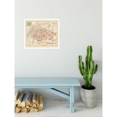 Strasbourg - vintage map reproduction printed on handmade paper. The map poster can be ordered in frame or as a print only. Office Wall Decor, Office Walls, Antique Maps, Vintage Maps, Old Wall, Wall Maps, Historical Maps, Picture Frames, Entryway Tables