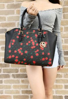 db60a7627e61e1 Michael Kors Ciara Saffiano Large Top Zip Satchel Crossbody Black Red Rose  #MK #poshcloset. Gaby's Bags