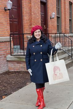Navy Blue Military Style Michael Kors Coat Red Hunter Boots Mary Tyler Moore Tote Bag Red Beret