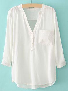 Stylish V-Neck 3/4 Sleeve Pocket Embellished Solid Color Cotton Blouse For Women, WHITE, S in Blouses   DressLily.com
