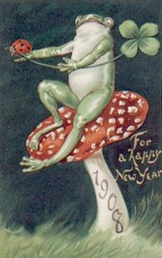 weirdvintage:  New Year Frog wishes you a Happy New Year, 1908 (via)
