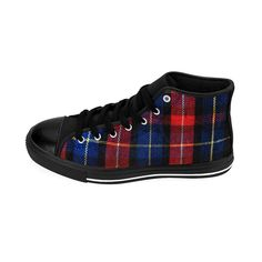 145e5a41daabb Youta Red Blue Plaid Tartan Classic Print Pattern Designer Shoes - Men s  High Top Sneakers (US Size 6-14)