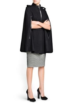 Wool Blend Cape w/ Leather Detail $129.99