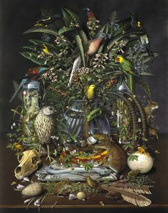 """Probable one of the saddest paintings ever, """"Gone"""" by Isabella Kirkland depicts museum specimens of extinct species, with the famed passenger pigeon at center.  All of these animals have gone extinct since the colonization of the Americas.  (Picture from Studio360.com, which did a piece on de-extinction in July 2013.)"""