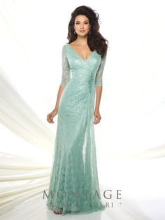 2c2c2c48e43eb 2016 Lace Slim Gown With Illusion Lace Three Quarter Length Sleeves Front  And Back Wide V