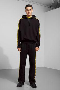 Model side image of Weekday goal logo hoodie in black Hoodies, Sweatshirts, Goal, Normcore, Sleeves, How To Wear, Men, Image, Black