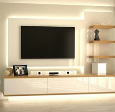 Aquila- Modern TV and Display Wall Unit in White Gloss ...