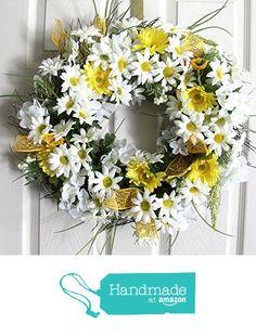 Summer silk flower daisy wreath for front door Mother's by Leopard Wreath Crafts, Diy Wreath, Wreath Making, Wreath Ideas, Spring Front Door Wreaths, Spring Wreaths, Country Wreaths, Mothers Day Flowers, Silk Flower Arrangements