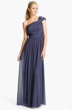 ML Monique Lhuillier Bridesmaids Cutout One Shoulder Mesh Gown (Nordstrom Exclusive) on shopstyle.com