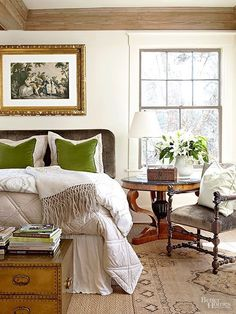 Over-styled but pretty, country bedroom with green and white