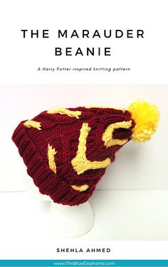 A Harry Potter Inspired Beanie! I love the Gryffindor colors and the cable pattern, they look like antlers :)