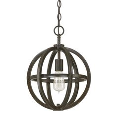 With its openwork design and brushed espresso finish, this chic pendant makes a statement in the foyer or looks striking in a pair over a long dining table.