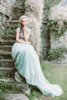 Seafoam blue wedding dress | Photography: Darcy Benincosa - www.slcutahweddingphotography.com  View entire slideshow: 20 Ideas for Your Something Blue on http://www.stylemepretty.com/collection/230/