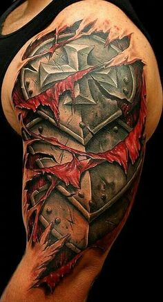 What does armor tattoo mean? We have armor tattoo ideas, designs, symbolism and we explain the meaning behind the tattoo. Dope Tattoos, Tattoos Bras, Best 3d Tattoos, Badass Tattoos, Body Art Tattoos, Tattoos For Guys, Sleeve Tattoos, Hals Tattoo Mann, Tattoo Hals