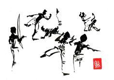 Encres : Capoeira – 465 « Entraînement » [ #capoeira #watercolor #illustration] Encre sur papier 190gr / Ink on paper 190gr 21 x 29.7 cm / 8.3 x 11.7 in