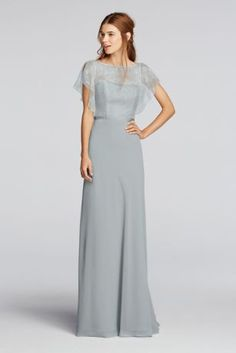 Soft coverage with cascading sleeves, you'll love this chiffon gown!  Wonder by Jenny Packham- Exclusively at David's Bridal.  Cascading sleevesoffer soft and elegantcoverage.  Lace bodiceand keyhole back paired with ribbon at waist.  Floor length,sheer chiffon skirt.  Fully Lined. Zipper Back. Dry Clean Only. To protect your dress, our Non Woven Garment Bag is a must have!